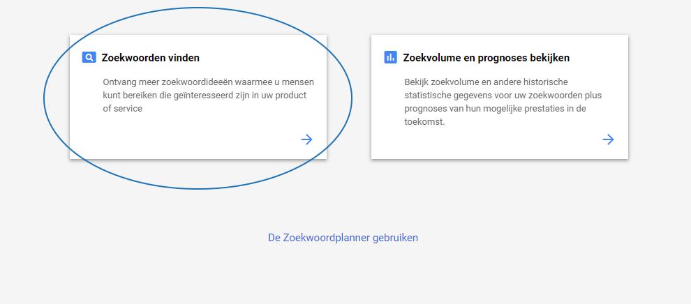 Google zoekwoordenplanner stap 4