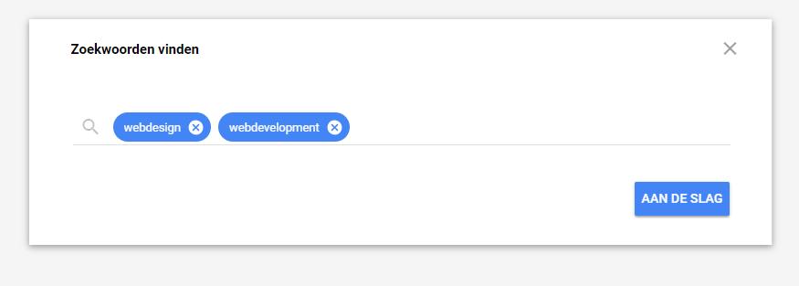 Google zoekwoordenplanner stap 5
