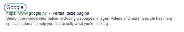 De meta-titel van een Google indexatie