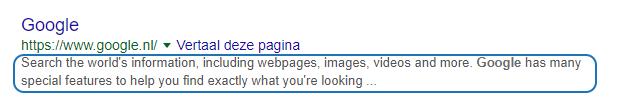 De omschrijving van een Google indexatie