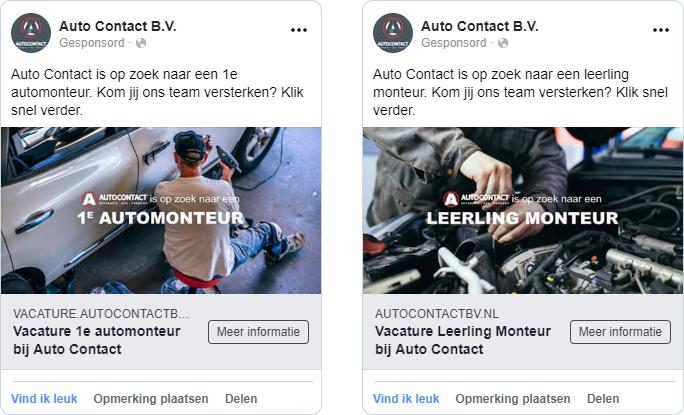 De Facebook advertenties van Auto Contact